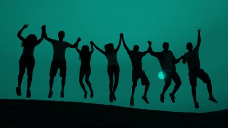 학생 청소년 점프 재미 축 하 개념