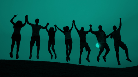 teen silhouette: Students Youth Jumping Fun Celebration Concept