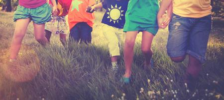 superhero: Children Friendship Togetherness Smiling Happiness Concept