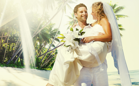 mate married: Marriage Couple Beach Wedding Happiness Concept Stock Photo