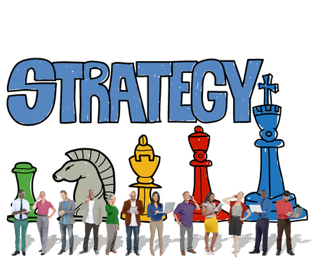 Group of people with business strategy concept