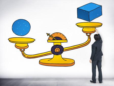 balanza: Equilibrio Posibilidad Escalas Circunstancia Ocasión Concepto Foto de archivo