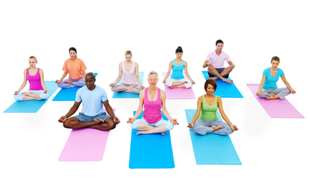 people exercising: Group of People Exercising Yoga Wellbeing Concept
