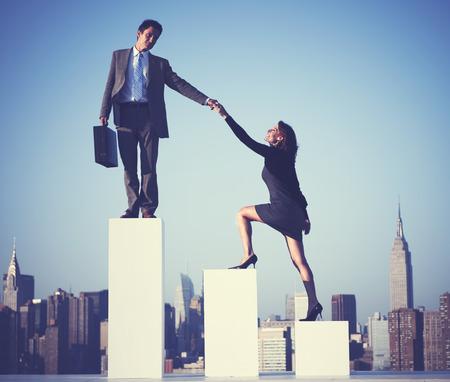 Business Partners Helping Growth Top Concept Standard-Bild