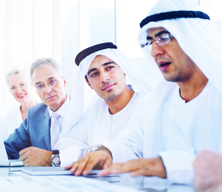 middle eastern ethnicity: Business People Meeting Discussion Corporate Team Concept Stock Photo