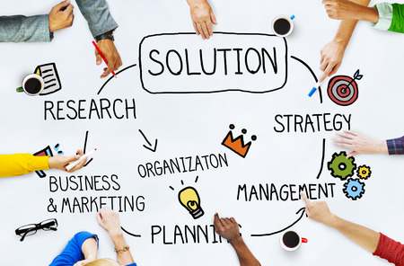 new solutions: Solution Problem Solving Organization Management Concept Stock Photo