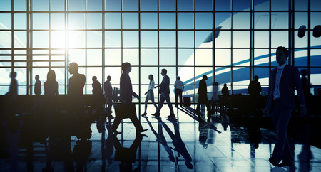 business travel: International Airport Airplane Departure Business Travel Concept