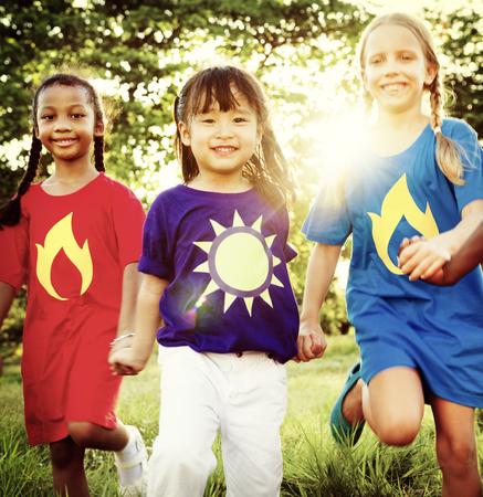 heros: Variation Children Kids Friendship Cheerful Concept