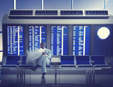 business travel: Businessman Airport Business Travel Flight Waiting Concept