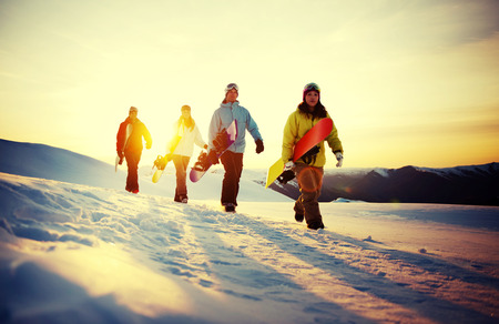 zealand: Group of Snowboarders on Top of the Mountain Concept
