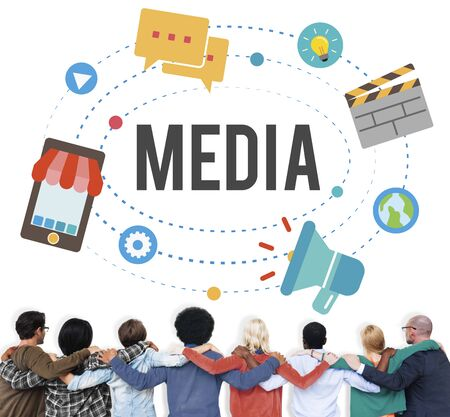 community group: Media Technology Communication Network Connection Concept Stock Photo