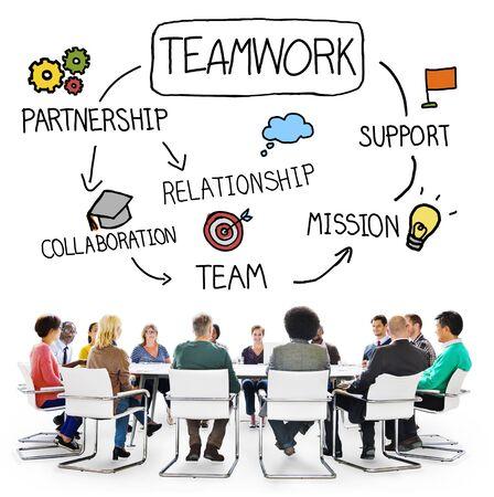 COLABORACION: Equipo Trabajo en equipo Corporativa Concepto Ayuda Colaboración