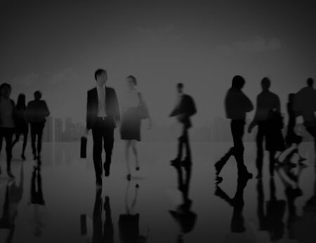 RUSH HOUR: Business People Walking Commuter Rush Hour Concept Stock Photo