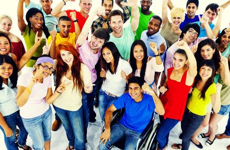 다양성 사람 군중 친구 통신 개념 스톡 콘텐츠