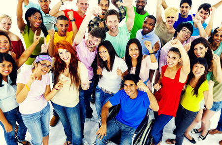 young adult men: Diversity People Crowd Friends Communication Concept Stock Photo