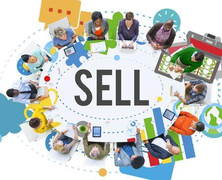 ganancias: Vender Ganar Dinero Pago Concepto de Compras Foto de archivo