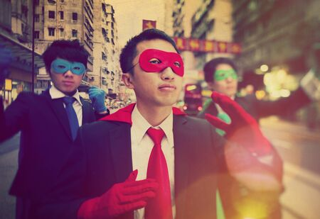 etnia: Chinese Ethnicity Businessmen Superheroes Power Concept Foto de archivo