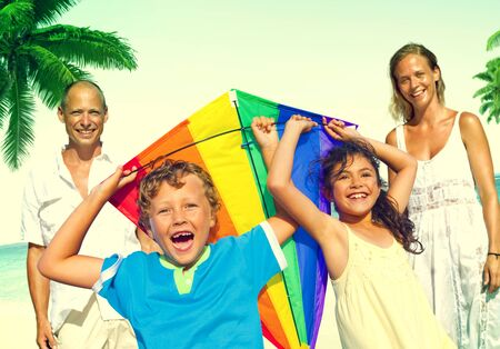 enjoyment: Family Beach Enjoyment Holiday Summer Concept