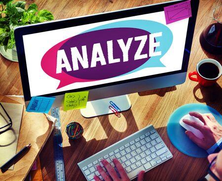 analyze: Analyze Evaluation Consideration Planning Strategy Concept Stock Photo