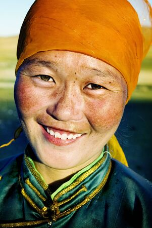 southeast asian ethnicity: Mongolian Woman in Traditional Dress Concept