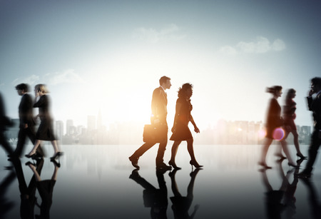 people walking: Business Couple Commuter Corporate Cityscape Pedestrian Concept Stock Photo