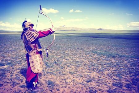 battlefield: Historical Hunting Independent Mongolia Battlefield Concept Stock Photo