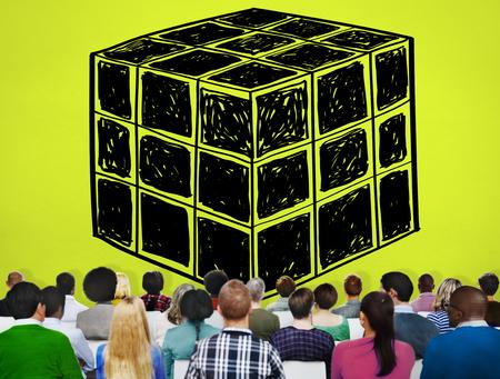 lógica: Cubo Dado Dimensión Lógica Mente Concepto Pensamiento Foto de archivo