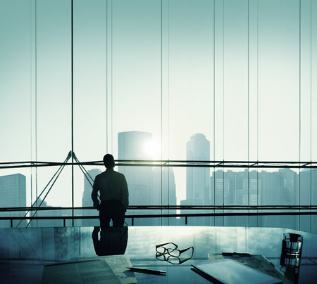 highrise: Businessman Thinking Aspirations Goals Contemplating Concept