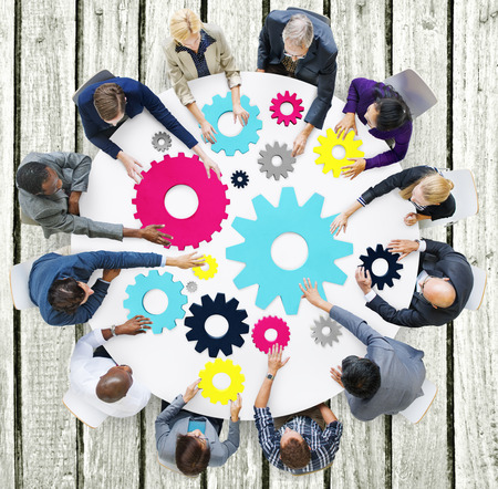 asian business meeting: Gear Connection Corporate Team Teamwork Meeting Concept