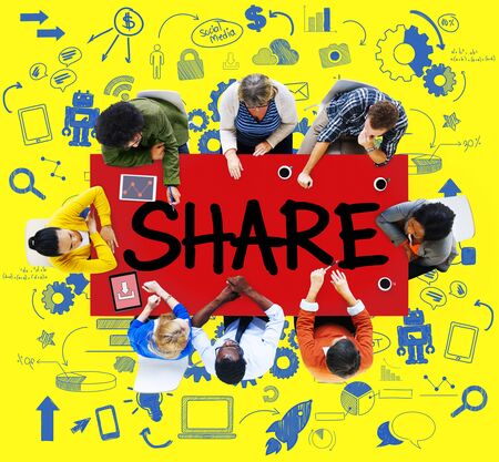 feedback link: Share Sharing Connection Online Communication Networking Concept Stock Photo