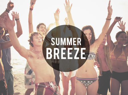 breeze: Summer Breeze Beach Friendship Holiday Vacation Concept