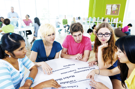 teaching adult: Students University Studying Project Communication Concept Stock Photo