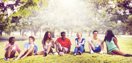 fun in the sun: Students Friendship Team Relaxation Holiday Concept Stock Photo