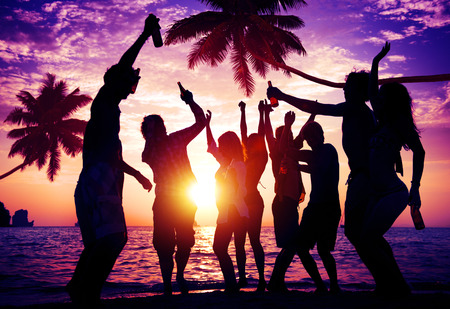 party friends: People Celebration Beach Party Summer Holiday Vacation Concept