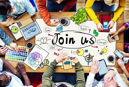 join us: Join Us Invitation Support Business Concept