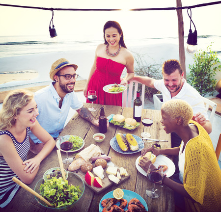 luncheon: Diverse People Luncheon Beach Rooftop Food Concept