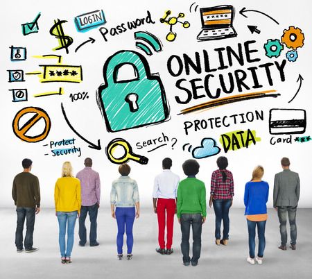 online security: Online Security Protection Internet People Rear View Concept