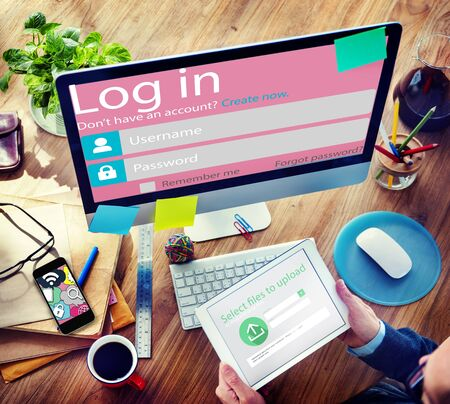 log on: Log in Password Identity Internet Online Privacy Protection Concept