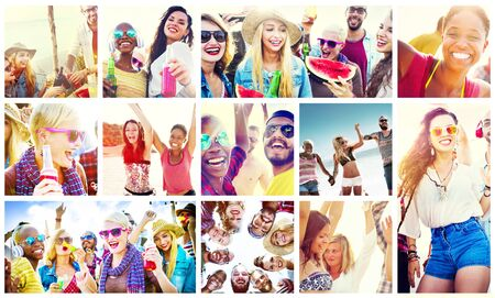 of african descent: Collage Diverse Faces Summer Beach People Concept
