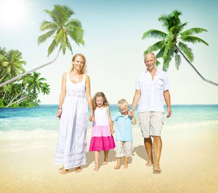 playful: Family Walking Playful Vacation Travel Holiday Concept