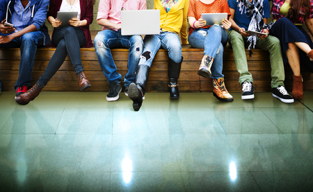 teenagers school: Teenagers Young Team Together Cheerful Concept Stock Photo