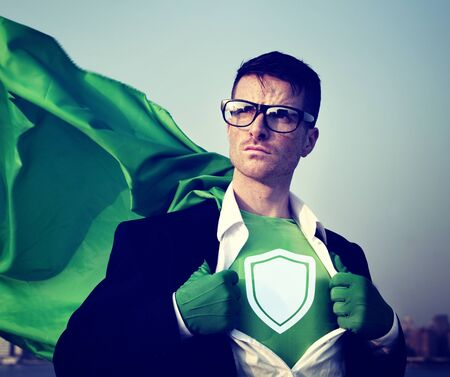 changing form: Strong Superhero Businessman Protection Concepts