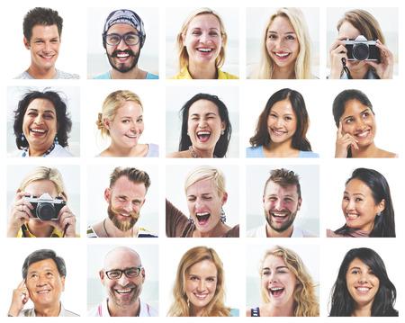 collage caras: Collage Diverse Caras Expresiones Concepto
