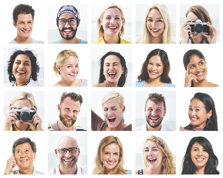 Collage Diverse Faces Expressions People Concept Stock Photo
