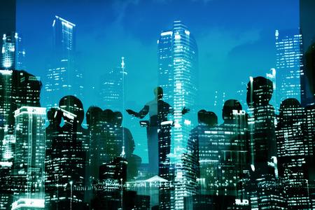 抽象的なビジネス人々 セミナー市建物コンセプト