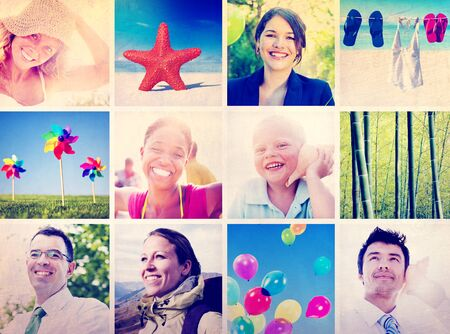 multiple images: Portrait Multiethnic Diverse Cheerful People Lifestyle Concept Stock Photo