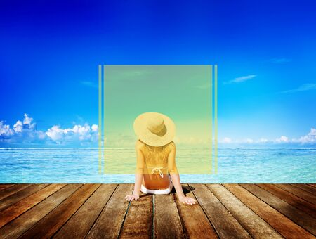 copy space: Copy Space Frame Summer Vacation Holiday Concept Stock Photo