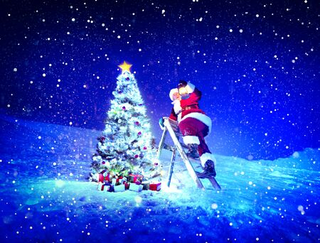 stepladder: Santa Lamp on a Step-Ladder Christmas Tree Concept