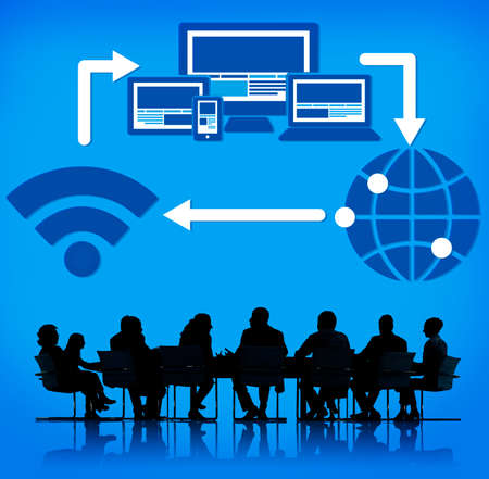 computers office: Computer Network Internet Technology Connection Concept Stock Photo