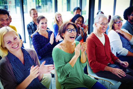 applause: Audience Applaud Clapping Happines Appreciation Training Concept Stock Photo
